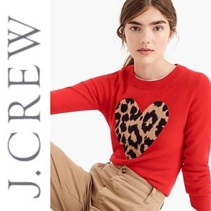 J. Crew Everyday Cashmere Leopard Heart Sweater S